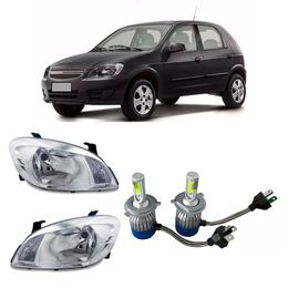 Par-Farol-Original-Gm-Celta-e-Prisma-2008-a-2012-Mais-Par-Kit-Lampadas-Super-Led-H4-36W-3800-Lumens