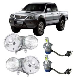 Par-Farol-Original-Mitsubishi-L200-Sport-Outdoor-2004-a-2008-Mais-Lampadas-Super-Led