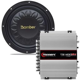 Kit-Amplificador-TS-400X4---Subwoofer-Slim-High-Power-12-Polegadas-