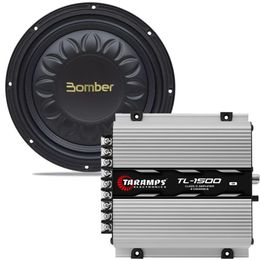 Kit-Amplificador-TL-1500---Subwoofer-Bomber-Slim-High-Power