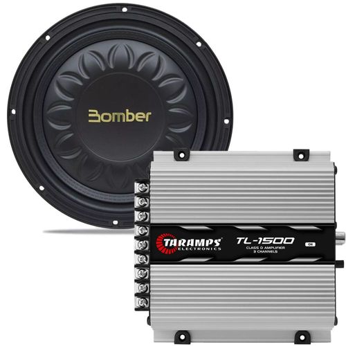 Kit-Amplificador-TL-1500---Subwoofer-Bomber-Slim-High-Power