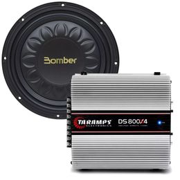 Kit-Amplificador-DS-800X4---Subwoofer-Bomber-Slim-High-Power