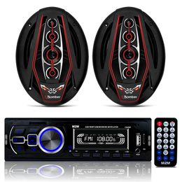 Kit-Radio-Mp3-com-Bluetooth---Par-de-Alto-Falante-6x9-Bicho-Papao