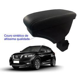 Apoio-De-Braco-Nissan-Kicks-Com-Couro-Sintetico-Preto-e-Com-Linha-Branca