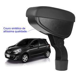 Apoio-De-Braco-Nissan-March-Com-Couro-Sintetico-Preto-e-Com-Linha-Preta