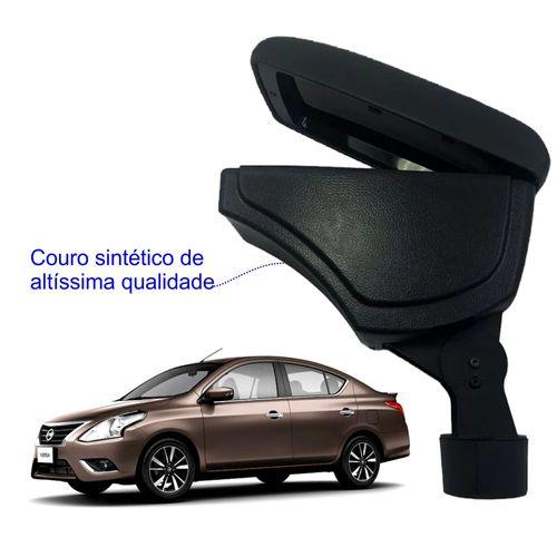 Apoio-De-Braco-Nissan-Versa-Com-Couro-Sintetico-Preto-e-Com-Linha-Preta