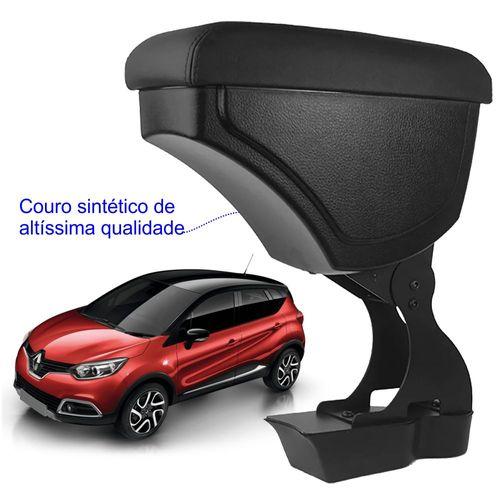 Apoio-De-Braco-Renault-Captur-Com-Couro-Sintetico-Preto-e-Com-Linha-Preta