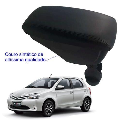 Apoio-De-Braco-Toyota-Etios-Com-Couro-Sintetico-Preto-e-Com-Linha-Preta