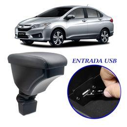 Apoio-de-Braco-Honda-City-2015-a-2020-Com-USB-Couro-Sintetico-Preto-e-Com-Linha-Cinza