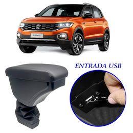 Apoio-de-Braco-Volkswagen-Tcross-2019-a-2020-Com-USB-Couro-Sintetico-Preto-e-Com-Linha-Preta