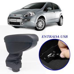 Apoio-de-Braco-Fiat-Punto-Linea-2007-a-2017-Com-USB-Couro-Sintetico-Preto-e-Com-Linha-Preta